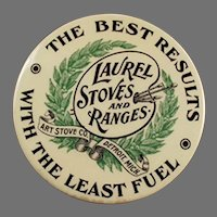Vintage Celluloid Advertising Mirror - Laurel Stoves and Ranges Advertising