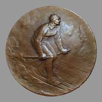 Vintage Bronze Sports Medallion – 1927 Nordic/Cross-Country Skiing Medal - Huguenin