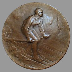 Vintage Bronze Sports Medallion – 1927 Nordic/Cross-Country Skiing Medal - Huguenin