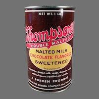 Vintage Borden's Thompson's Malted Milk 1# Tin - Nice Kitchen Advertising