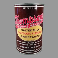 Vintage Borden's Thompson's Malted Milk 1# Tin - Nice Kitchen Advertising
