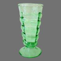 Vintage Soda Fountain Malt Glass - Green with Twisting Spiral