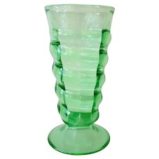 Vintage Soda Fountain Malt Glass - Green with Twisting Spiral