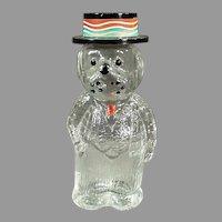 Small Vintage Figural Perfume Bottle - Lioret Label on Dog Wearing a Hat