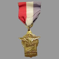 Vintage Alfred's Ice King Advertising Medal with Ice Skate & Eagle