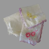 Three Vintage Hankies with Embroidery and Tatting