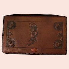 Vintage Hand Tooled Leather Clutch Hand Bag – Beautiful Art Nouveau Detail