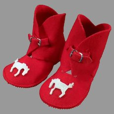 Vintage Felt Baby Boot Booties - Christmas Red Slipper Shoes with Applied Horses