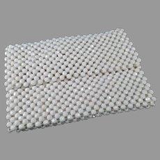Vintage 1970's White Bead Italian Handbag Evening Clutch - Small Purse