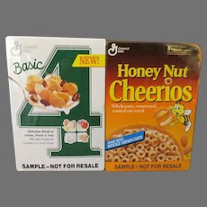 Vintage General Mills Cereal Sample Boxes – Basic-4 and Honey-Nut Cheerios, Sealed Double Pack
