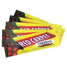Five (5) Vintage Fruit Crate Labels - Emmett Idaho Red Carpet Cherries
