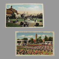 Two Vintage Postcards - Southern California Exposition Souvenir Postcards