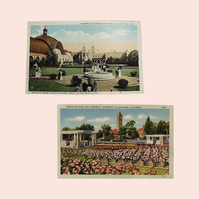 Two Vintage Postcards - Southern California Exposition Souvenir Postcards