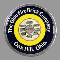 Vintage Celluloid Paperweight - Ohio Fire Brick Company Advertising
