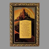 """Vintage Motto Print with Motivational Poem """"Success"""" – Small and Stunning - 1930"""