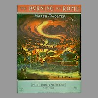 Vintage Sheet Music - 1932 The Burning of Rome with Colorful Graphics