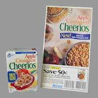 Vintage General Mills Apple Cinnamon Cheerios Cereal Sample with Original Coupon