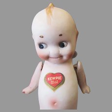 """Vintage 6"""" Nippon Bisque Kewpie Doll with Original Heart & Rose O'Neill Labels"""