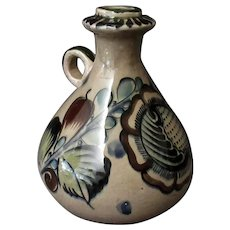 Vintage Tonala Mexican Pottery - Handled Decanter Jug with Nice Subdued Colors