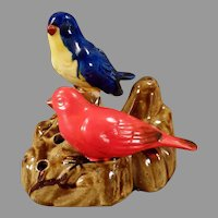 Colorful Vintage Pottery Flower Frog with Two Little Birds - Made in Japan