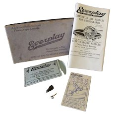 Vintage Everplay Phonograph Needle, Original Packaging, Advertising Pamphlet and Box - 1921