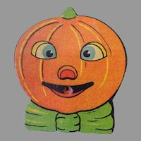 Vintage Halloween J-O-L Pumpkin Cardboard Toy Squeaker Noise Maker