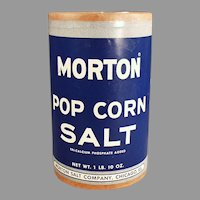 Vintage 1950's Morton Popcorn Salt Box - Fun Pop Tin Corn Go-With