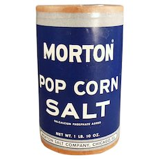 Vintage 1950's Morton Popcorn Salt Box - Fun Pop Tin Corn Go-With