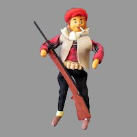 Vintage Outdoorsman Man in Beret with Hunting Gun Cloth Doll