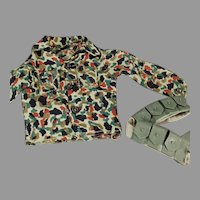 Vintage G.I. Joe Camouflage Shirt and Belt Accessory Doll Clothes