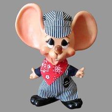 "Vintage 10 ½""  Ernie Engineer Doll Mouse Bank - Original Outfit including Hat"