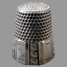 Vintage Sterling Silver Size 10 Sewing Thimble - Paneled Design - Waite Thresher