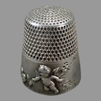 Vintage Sterling Silver Thimble with Cupid Design - Simons Brothers - 1905 Patent