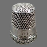 Vintage Sterling Silver Sewing Thimble - Priscilla Pattern by Simons Brothers - 1898 Patent