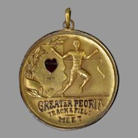 Vintage 1930 Sports Medal - Peoria, Illinois Track & Field Award with Enameled Heart