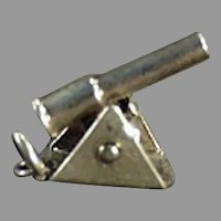 Vintage Sterling Silver Cannon Charm with Moveable Barrel