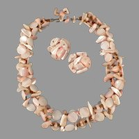 Vintage Costume Jewelry Mother of Pearl Choker Necklace and Earring Set - Pastel Pinks