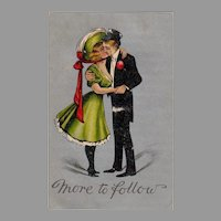 Vintage More to Follow Postcard - Buxom Young Lady and Suave Gentleman