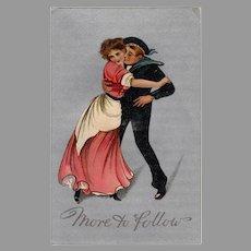 Vintage More to Follow Postcard - Eager Sailor & Gibson Like Girl