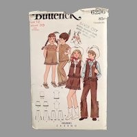 Vintage 1970'S #6296 Child's Butterick Pattern - Cowboys & Indians Children's Costumes