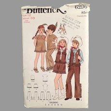 Vintage 1970'S #6296 Child's Butterick Pattern - Cowboys & Indians Children's Costumes