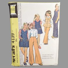 Vintage 1974 #4139 Child's McCall's Carefree Pattern - Children's Fashions - Size 12