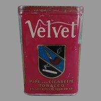 Vintage Vertical Velvet Pipe and Cigarette Tobacco Tin