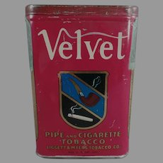 Vintage Vertical Velvet Pipe and Cigarette Tobacco Tin