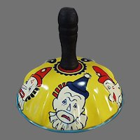 Vintage Tin Noise Maker Toy with Colorful Clown Faces