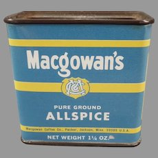Vintage Macgowan's Allspice Spice Tin with Coffee Advertising - Jackson Mississippi