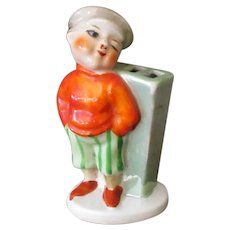 Vintage Toothbrush Holder - Little Boy in Knickers and Cap - Lustreware