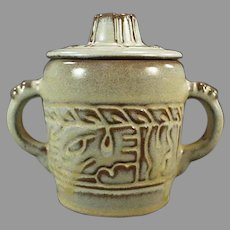 Vintage Frankoma Pottery - Mayan Aztec Pattern, Desert Gold Glaze Covered Sugar