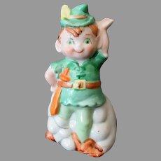 Vintage Leprechaun or Robin Hood Porcelain Ceramic Bell  –  J.S.N.Y Copyright