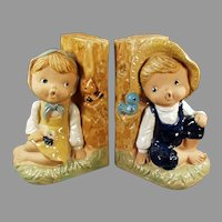 Vintage 1960's Enesco Pottery Bookends - Country Boy and Girl Figures